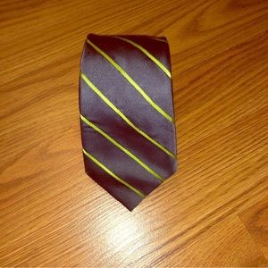 Express Silk Tie Gray and Green Striped